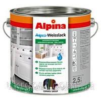 Краска для мебели Германия Alpina Aqua-Weisslack Seidenmatt Weiss/ Шовковисто-матова біла 2,5л