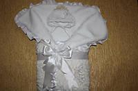 Плюшевый конверт-одеяло для новорожденного с цветами ручной работы, фото 1