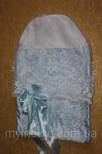 Кружевной конверт для новорожденного на выписку голубой