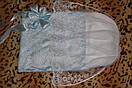 Кружевной конверт для новорожденного на выписку голубой, фото 2