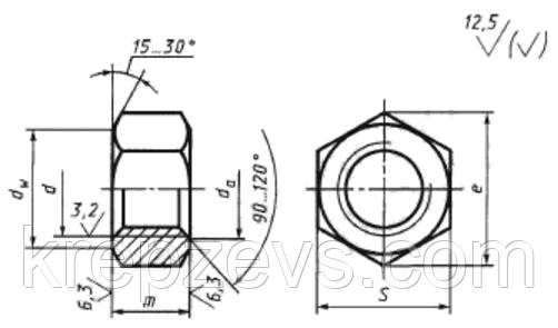 Гайка, М6, DIN 934, чертеж