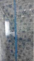 Антимоскитная шторка на магнитах-кнопках размер 210х100см голубая листья блёстки