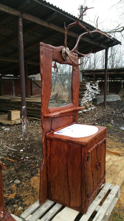 Меблі для ванної кімнати з натурального дерева. -1
