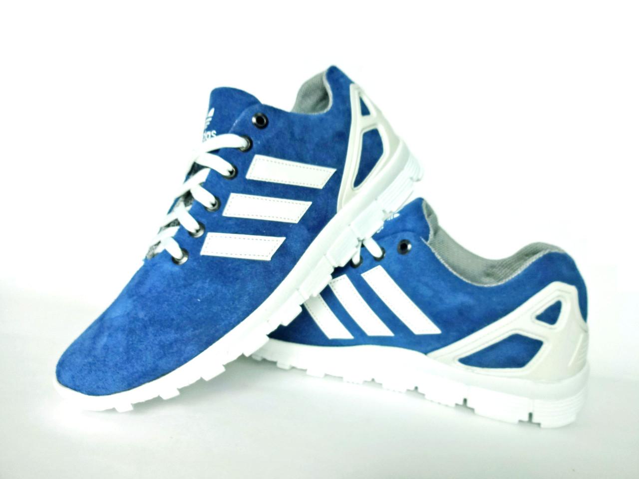 Голубые мужские кроссовки Adidas. Натуральная замша