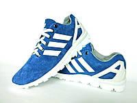 Голубые мужские кроссовки Adidas. Натуральная замша, фото 1