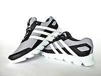Мужские кроссовки черные с серым Adidas. Натуральная кожа, сетка, фото 1