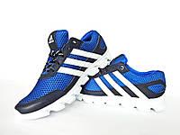 Мужские кроссовки черные с ярко голубым Adidas. Натуральная кожа, сетка