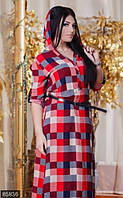 Клетчатое женское платье-рубашка с длинной юбкой под пояс с капюшоном рукав три четверти штапель батал Турция