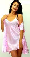 Халат короткий + рубашка короткая, цвет нежно - розовый, размеры от 40 до 50. Розница и опт, Украина.