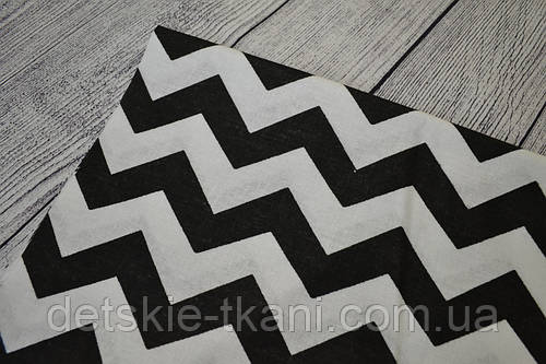 Лоскут ткани №155  с зигзагом чёрного цвета