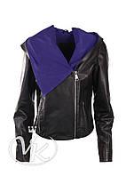 Черная кожаная куртка короткая (размер М), фото 1