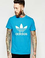 """Футболка мужская """"Adidas"""" голубая Адидас"""