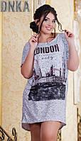Асимметричное женское платье прямого фасона с модным принтом рукав короткий тонкий трикотаж батал Турция