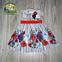 Нарядное летнее платье с цветами для девочки