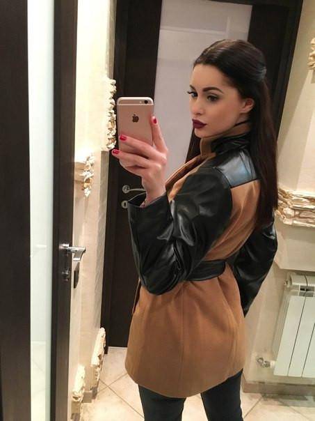 Женское пальто кашемир с рукавами эко кожа