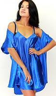 Комплект рубашка и халатик. Комплект: ночная сорочка на бретелях и халатик - кимоно, цвет: синий с переливом.