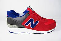 Мужские кроссовки New Balance, нубук/кожа, красные с синим, Р.  44