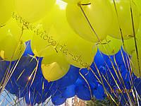 Гелиевые шарики желтые и синие пастель