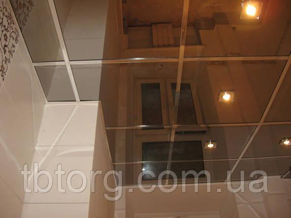 Подвесной металлический потолок в ванной 600х600. Зеркало, фото 2