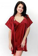 Ночная рубашка и халатик в комплекте - шелк. Размеры 40-50. Цвет бордовый. розница, опт, недорого в Украине.