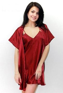 f96e579df06 Ночная рубашка и халатик в комплекте - шелк. Размеры 40-50. Цвет бордовый