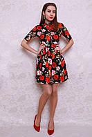 Стильное летнее платье модной расцветки с рубашечным верхом