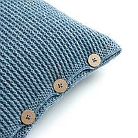 Подушка декоративная Ohaina на пуговицах вязаная 40х40  цвет голубая пудра