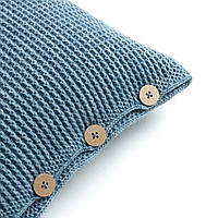 Подушка декоративная Ohaina на пуговицах вязаная 40х40  цвет голубая пудра, фото 1