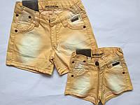 Детские джинсовые шорты  для девочек, жолтый, 92-116