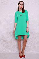 Оригинальное женское платье ассиметричного кроя с украшением в комплекте