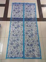 Антимоскитная шторка на магнитах размер 210х100см цветы голубая