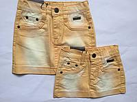 Детская джинсовая юбка для девочек, жолтый, 92-116