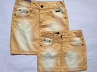 Детская джинсовая юбка для девочек, жолтый, 122-146