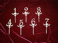 Топпер Цифры от 1 до 7  (15 х 12 см), декор
