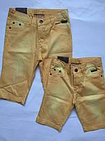 Детские джинсовые капри для девочек, желтый, 92-116