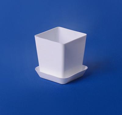 Горшок для кактуса с подставкой 150мл (белый)