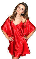 Комплект рубашка и халатик шелк, Комплект: ночная сорочка на бретелях и халатик - кимоно, цвет: красный.