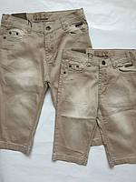 Детские джинсовые капри для девочек, кофейный, 122-146