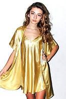 Комплект рубашка и халатик шелк, Комплект: ночная сорочка на бретелях и халатик - кимоно, цвет: бронзовый.