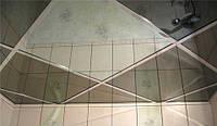 Зеркальный потолок в ванной комнате, плиты 600х600