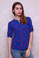 Яркая молодежная блуза в цвете эллектрик на пуговицах