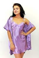 Ночная рубашка и халатик в комплекте - шелк. Размеры 40-50. Цвет сиреневый. Розница, опт, недорого в Украине.