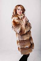 Шубка из цельной лисы с кожаными вставками Длина 100 см