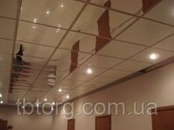 Зеркальный потолок на кухне, плиты 600х600