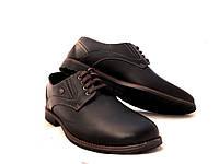 Туфли мужские с черной кожи стильные, фото 1