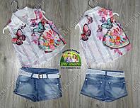 Летний костюм для девочки: туника,модные джинсовые шорты с поясом