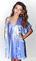 Комплект рубашка и халатик шелк, Комплект: ночная сорочка на бретелях и халатик - кимоно, цвет: серебристый.
