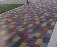 Кирпич стандартный 200х100, цвет коричневый, красный, персиковый, горчичный, черный на сером цементе 60мм