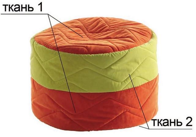 Пуфик Башенка (Оранжевый). Материал искусственная кожа или велюр прошивной. Не впитывает влагу, универсальность применения, безопасные поверхности.