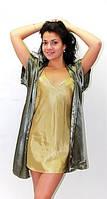 Пеньюар и халатик в комплекте, красивая одежда для дома, цвет олива+зеленый, размеры 40-50, розница, опт